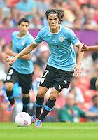 July 26, 2012..Uruguay's Edinson Cavani (7). UAE vs Uruguay Football match during 2012 Olympic Games at Old Trafford in Manchester, England. Uruguay defeat United Arab Emirates 2-1...