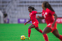 ORLANDO, FL - FEBRUARY 24: Nichelle Prince #15 of the CANWNT dribbles the ball during a game between Brazil and Canada at Exploria Stadium on February 24, 2021 in Orlando, Florida.