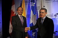 Montreal (Qc) Canada - June 10 2009 -<br /> Stockwell Day (L) with<br /> Alvaro Uribe in Montreal.<br /> <br /> ¡lvaro Uribe VÈlez is the 39th President of Colombia and is currently serving his second term in office.