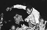 Crowd surfing to Black Market Baby, 9:30 Club. Washington, DC 1982.