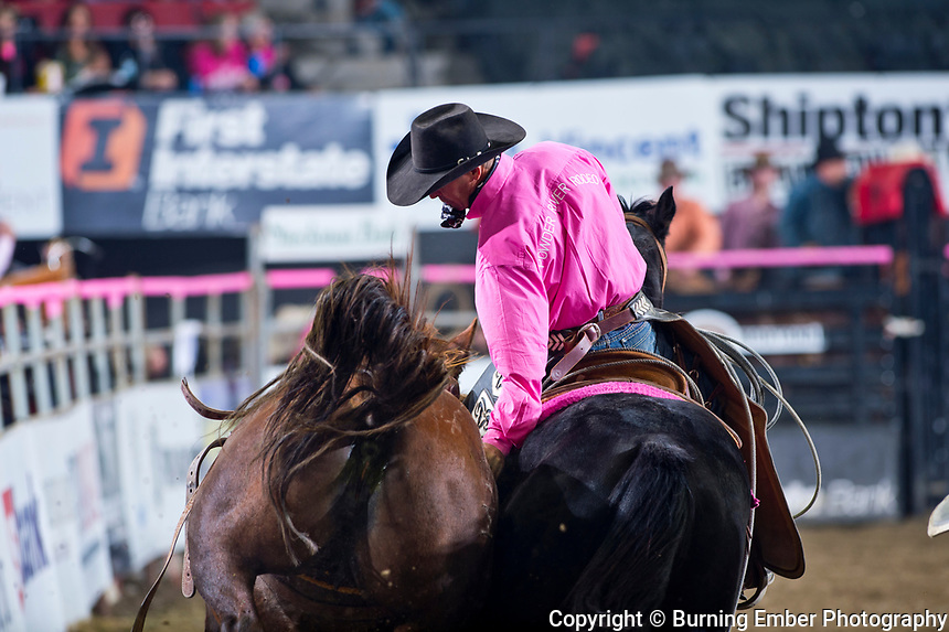 Checkmark of Powder River Rodeo at the NILE Rodeo 2nd Perf Oct 18th, 2019.  Photo by Josh Homer/Burning Ember Photography.  Photo credit must be given on all uses.