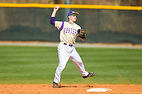 Western Carolina Catamounts second baseman Bradley Strong (1) makes a throw to first base against the Davidson Wildcats at Wilson Field on March 10, 2013 in Davidson, North Carolina.  The Catamounts defeated the Wildcats 5-2.  (Brian Westerholt/Four Seam Images)