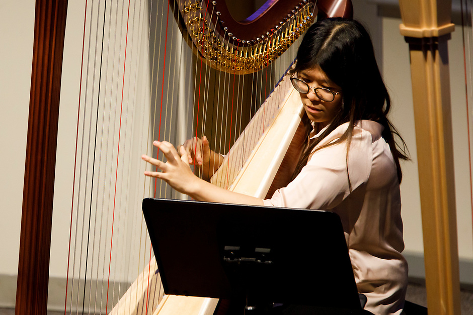 Harpist Melody Leung performs during the Composition Forum at the 11th USA International Harp Competition at Indiana University in Bloomington, Indiana on Monday, July 8, 2019. (Photo by James Brosher)