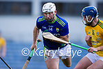 Mikey Boyle, Kerry, in action against Conor O'Keeffe, Kerry, during the Round 1 meeting of Kerry and Meath in the Joe McDonagh Cup at Austin Stack Park in Tralee on Sunday.
