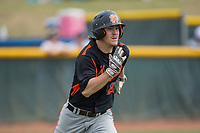 Austin Beck (23) of the North Davidson Knights hustles down the first base line against the Alexander Central Cougars at Bob Gryder Stadium on March 25, 2017 in Taylorsville, North Carolina.  The Knights defeated the Cougars 3-0.  (Brian Westerholt/Four Seam Images)