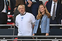 7th July 2021, Wembley Stadium, London, England; 2020 European Football Championships (delayed) semi-final, England versus Denmark;  Prime Minister Boris JOHNSON with wife Carrie SYMONDS in the stands at the Semi Final England versus Denmark