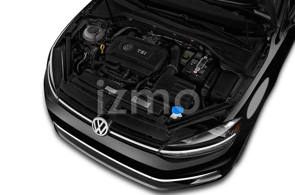 Car stock 2018 Volkswagen Golf SportWagen SE 5 Door Wagon engine high angle detail view