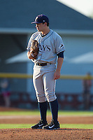 Princeton Rays starting pitcher Trevor Lubking (28) looks to his catcher for the sign against the Burlington Royals at Burlington Athletic Park on July 11, 2014 in Burlington, North Carolina.  The Rays defeated the Royals 5-3.  (Brian Westerholt/Four Seam Images)