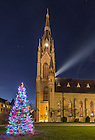 Dec. 3, 2015; Christmas tree and the Basilica of the Sacred Heart. (Photo by Barbara Johnston/University of Notre Dame)