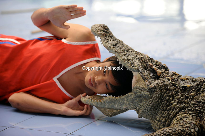A performer at World Park puts his head into a crocodile as part of a daily performance. The park displays about 100 tourist attractions in a scaled-down version from nearly 50 countries around the world, including the Tower Bridge in London, the Eiffel tower in Paris, pyramids in Egypt, etc..16 Aug 2008