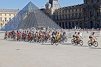 18th July 2021; Paris, France;  Illustration of peloton at the Louvre during stage 21 of the 108th edition of the 2021 Tour de France cycling race, the stage of 108,4 kms between Chatou and finish at the Champs Elysees in Paris.