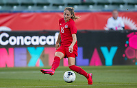 CARSON, CA - FEBRUARY 07: Janine Beckie #16 of Canada crosses a ball during a game between Canada and Costa Rica at Dignity Health Sports Park on February 07, 2020 in Carson, California.