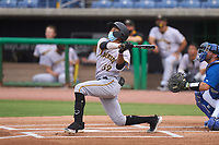 Bradenton Marauders Jasiah Dixon (32) bats during a game against the Dunedin Blue Jays on May 13, 2021 at BayCare Ballpark in Clearwater, Florida.  (Mike Janes/Four Seam Images)