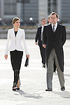 Queen Letizia of Spain and Spain's acting Prime Minister Mariano Rajoy during the Military Eastern (Pascua Militar) at the Royal Palace in Madrid, Spain. January 06, 2015. (ALTERPHOTOS/Pool)