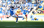 St Johnstone v Motherwell…28.09.19   McDiarmid Park   SPFL<br />Scott Tanser misses his penalty kick<br />Picture by Graeme Hart.<br />Copyright Perthshire Picture Agency<br />Tel: 01738 623350  Mobile: 07990 594431