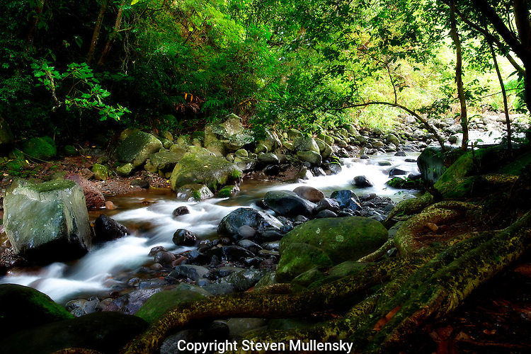 Cascading river in Maui's I'ao Valley