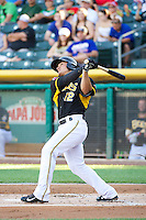 Tommy Field (12) of the Salt Lake Bees at bat against the Nashville Sounds in Pacific Coast League action at Smith's Ballpark on June 23, 2014 in Salt Lake City, Utah.  (Stephen Smith/Four Seam Images)