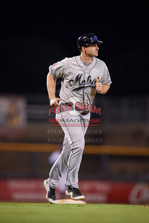 Mobile BayBears manager Lou Marson (4) during a game against the Mississippi Braves on May 7, 2018 at Trustmark Park in Pearl, Mississippi.  Mobile defeated Mississippi 5-0.  (Mike Janes/Four Seam Images)