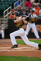 Aberdeen IronBirds Mason Janvrin (17) bats during a NY-Penn League game against the Vermont Lake Monsters on August 18, 2019 at Leidos Field at Ripken Stadium in Aberdeen, Maryland.  Vermont defeated Aberdeen 6-5.  (Mike Janes/Four Seam Images)