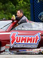 May 19, 2014; Commerce, GA, USA; NHRA pro stock driver Greg Anderson during the Southern Nationals at Atlanta Dragway. Mandatory Credit: Mark J. Rebilas-USA TODAY Sports
