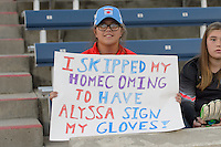 Chicago, IL - Saturday Sept. 24, 2016: Chicago Red Stars fan prior to a regular season National Women's Soccer League (NWSL) match between the Chicago Red Stars and the Washington Spirit at Toyota Park.