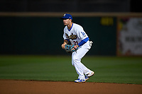 Rancho Cucamonga Quakes second baseman Omar Estevez (21) during a California League game against the Lake Elsinore Storm at LoanMart Field on May 19, 2018 in Rancho Cucamonga, California. Lake Elsinore defeated Rancho Cucamonga 10-7. (Zachary Lucy/Four Seam Images)