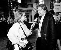 May 28, 1991 File Photo - Nathalie Petrowsky (L) interview Gilbert Rozon (R)
