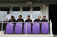 Orlando, Florida - Saturday January 13, 2018: Los Angeles FC technical staff (from left): Zak Abdel, Ante Razov, Mike Sorber, Bob Bradley, and Marc Dos Santos. Match Day 1 of the 2018 adidas MLS Player Combine was held Orlando City Stadium.