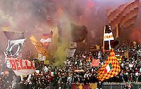 Calcio, Serie A: Lazio vs Roma. Roma, stadio Olimpico, 11 novembre 2012..AS Roma fans react during the Italian Serie A football match between Lazio and AS Roma, at Rome's Olympic stadium, 11 November 2012..UPDATE IMAGES PRESS/Riccardo De Luca