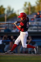 Batavia Muckdogs Aaron Knapp (5) during a game against the West Virginia Black Bears on June 30, 2016 at Dwyer Stadium in Batavia, New York.  Batavia defeated West Virginia 4-3.  (Mike Janes/Four Seam Images)
