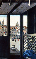 R. Campin: St. Joseph, detail. Artist's view of Bruges. Photo '91. Reference only.