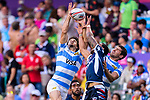 Martin Iosefo of USA (C) jumps for gets the ball during the HSBC Hong Kong Sevens 2018 match for Plate Final between Argentina and USA on 08 April 2018, in Hong Kong, Hong Kong. Photo by Marcio Rodrigo Machado / Power Sport Images