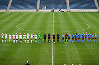 BRIDGEVIEW, IL - SEPTEMBER 26: The Washington Spirit Starting XI and the Chicago Red Stars Starting XI stand on the field before a game between Washington Spirit and Chicago Red Stars at SeatGeek Stadium on September 26, 2020 in Bridgeview, Illinois.