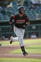 Brandon Valenzuela (17) of the Lake Elsinore Storm runs to first base during a game against the Inland Empire 66ers at San Manuel Stadium on July 25, 2021 in San Bernardino, California. (Larry Goren/Four Seam Images)