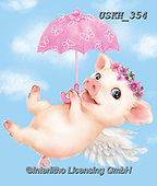 Kayomi, CUTE ANIMALS, LUSTIGE TIERE, ANIMALITOS DIVERTIDOS, paintings+++++,USKH354,#ac#, EVERYDAY ,pig,pigs