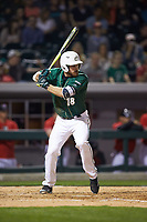 Drew Ober (18) of the Charlotte 49ers at bat against the Georgia Bulldogs at BB&T Ballpark on March 8, 2016 in Charlotte, North Carolina. The 49ers defeated the Bulldogs 15-4. (Brian Westerholt/Four Seam Images)