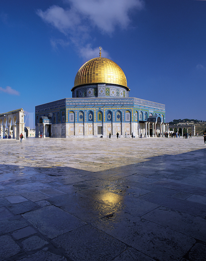 The Dome of the Rock mosque, known in Arabic as Al Quds (The Holy), with its golden dome under a deep blue sky, on the Noble Rock, Jerusalem, Israe