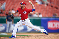 Buffalo Bisons relief pitcher Chad Girodo (15) delivers a pitch during a game against the Scranton/Wilkes-Barre RailRiders on July 2, 2016 at Coca-Cola Field in Buffalo, New York.  Scranton defeated Buffalo 5-1.  (Mike Janes/Four Seam Images)