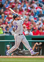 29 July 2017: Colorado Rockies infielder Trevor Story watches the trajectory of his 2-run homer to right in the second inning against the Washington Nationals at Nationals Park in Washington, DC. The Rockies defeated the Nationals 4-2 in the first game of their 3-game weekend series. Mandatory Credit: Ed Wolfstein Photo *** RAW (NEF) Image File Available ***