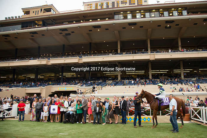 DEL MAR,CA-AUGUST 26: Giant Expectations,ridden by Gary Stevens, wins the Pat O'Brien Stakes at Del Mar Race Track on August 26,2017 in Del Mar,California (Photo by Kaz Ishida/Eclipse Sportswire/Getty Images)