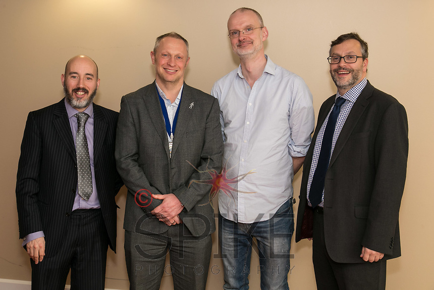 Pictured from left - Luke Appleby of club sponsors Buckles Solicitors, NCBC Club President Mark Deakin and Guest Speaker Iain Simons of the National Videogame Foundation and Rob Wallwork of sponsors Buckles Solitors