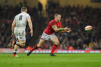 Pictured: Hadleigh Parkes of Wales in action during the Guinness six nations match between Wales and England at the Principality Stadium, Cardiff, Wales, UK.<br /> Saturday 23 February 2019