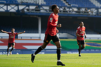 7th November 2020; Liverpool, England;  Manchester Uniteds Marcus Rashford C celebrates after a goal by teammate Bruno Fernandes during the Premier League match between Everton and Manchester United at Goodison Park Stadium