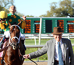 March 29, 2014: on Louisiana Derby Day at the Fairgrounds Race Course in New Orleans, LA. Mary M. Meek/ESW/CSM; Palace Malice, ridden by Mike Smith, led to winner's circle by owner Cot Campbell