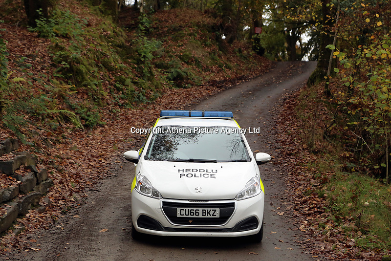 Pictured: Police at the entrance to the property in Llangammarch Wells, Powys, Wales, UK. Tuesday 31 October 2017<br />Re: Investigations continue into a house fire in which a father and several of his children have died.<br />Three children aged 13, 12 and 10 escaped the farmhouse in Llangammarch Wells, Powys, in the early hours of Monday and raised the alarm.<br />Police said they could not identify the deceased or confirm numbers.<br />One of those missing has been named locally as David Cuthbertson.