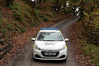 Pictured: Police at the entrance to the property in Llangammarch Wells, Powys, Wales, UK. Tuesday 31 October 2017<br />