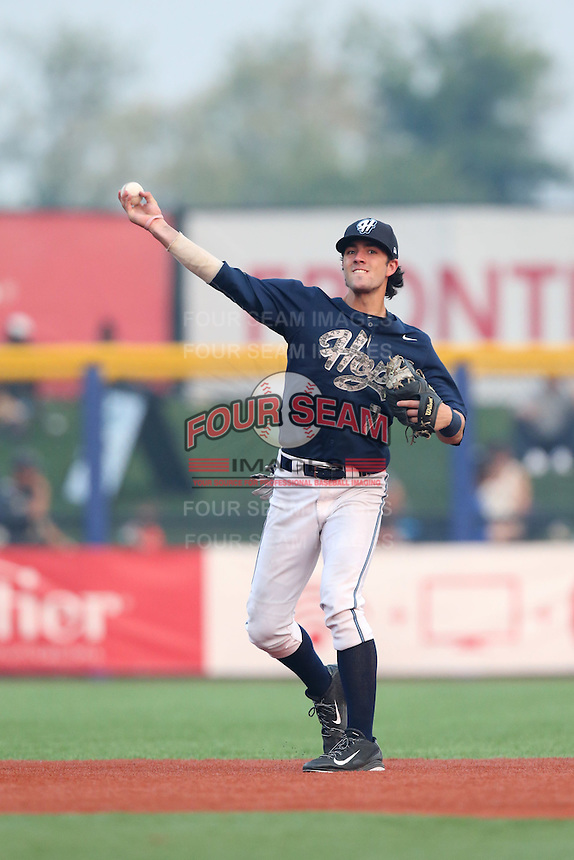 First overall draft pick in the 2015 Major League Baseball Player Draft, Dansby Swanson (7) of the Hillsboro Hops throws between innings during a game against the Boise Hawks at Ron Tonkin Field on August 22, 2015 in Hillsboro, Oregon. Boise defeated Hillsboro, 6-4. (Larry Goren/Four Seam Images)