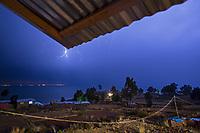 Lighting storm over Lake Titikaka, Peru