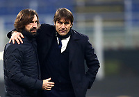 Calcio, Serie A: Inter Milano - Juventus FC , Giuseppe Meazza (San Siro) stadium, in Milan, January 17, 2021.<br /> Inter's coach Antonio Conte (r) greets Juventu's coach Andrea Pirlo (l) at the end of  the Italian Serie A football match between Inter and juventus at Giuseppe Meazza (San Siro) stadium, January 17,  2021.<br /> Inter wins the match 2-0.<br /> UPDATE IMAGES PRESS/Isabella Bonotto
