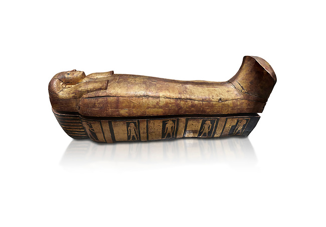 Acient Egyptian sacophagus of Merit -  inner coffin from tomb of Kha, Theban Tomb 8 , mid-18th dynasty (1550 to 1292 BC), Turin Egyptian Museum.  white background